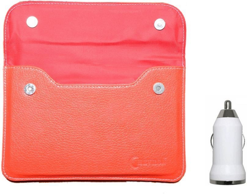 """Chevron Pouch Cover Case For Android 7"""" Tablets With USB Car Charger (Red) Combo Set"""