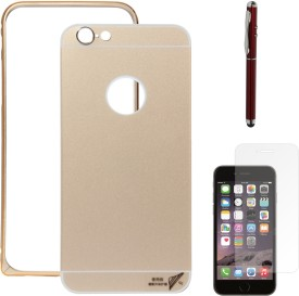 DMG Metal Frame and Back Cover Bumper Case Slim Fit Dual Protection Cover For Apple iPhone 6 (Golden), Laser Torch Stylus Pen, Matte Screen Combo Set