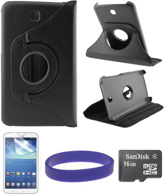 DMG Flip Book Back Cover Stand Case for Samsung Galaxy Tab 3 T211 with 16GB microSD and Matte Screen Combo Set Black