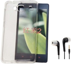 Tidel Silicon Soft Back Cover For Xiaomi Redmi 2 WITH 3.5MM HANDSFREE EARPHONE Combo Set