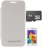 TBZ Flip Cover Case For Samsung Galaxy Core Prime With Screen Guard And 8GB MicroSD Combo Set (White)