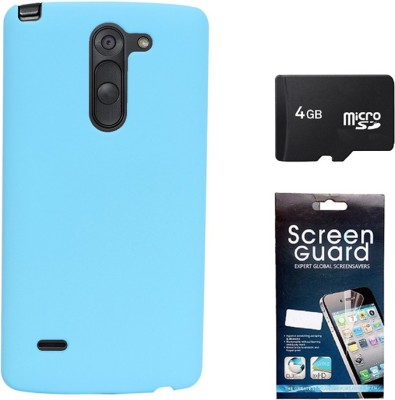 KolorEdge Back Cover + Screen Guard + 4GB Memory Card For LG G3 Stylus - Sky Blue Combo Set