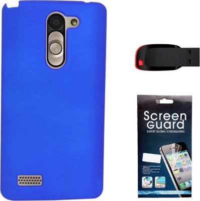 KolorEdge Back Cover + Screen Guard + 4GB Pen Drive For LG L Bello - Dark Blue Combo Set