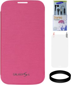 DMG Flip Cover for Samsung Galaxy S4 i9500 (Magenta) with Samsung Black Earphones and Screen Guard and Wristband Combo Set