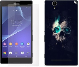 ezyPRNT Skull Manipulation Back skin sticker with screen guard combo for Sony Xperia T2 Ultra Combo Set