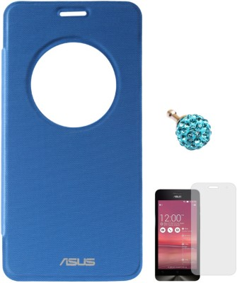 DMG Circle Window Flip Book Cover Case for Asus Zenfone 5 Royal Blue, 3.5mm Dust Jack, Matte Screen Combo Set Blue available at Flipkart for Rs.599