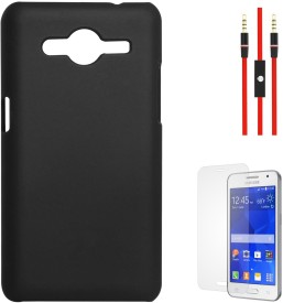 DMG Protective Hard Back Cover Case For Samsung Galaxy Core 2 SM-G355H (Black), AUX Cable and Matte Screen Combo Set