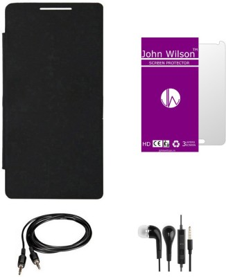 John Wilson Gionee Elife S5.1 Flip Cover Mobile Essentials Basic Kit   Black , Screen Cover , Ear Phone , Aux Cable Combo Set Black available at Flipkart for Rs.399