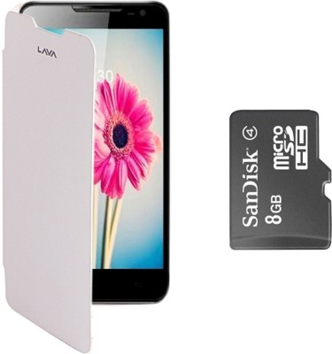 KolorEdge Cover for Lava iris 504Q with SanDisk 8GB Memory Card Combo Set White