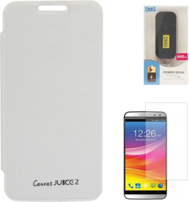 DMG Premium Flip Case for Micromax Canvas Juice 2 AQ5001 , 6600 mAh PowerBank & Matte Screen Combo Set available at Flipkart for Rs.1299