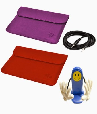 My Dress My Style 10 inch Tablet Sleeve, Aux Cable and Mobile Holder for Spice Stellar Pad Mi 1010 WiFi 16 GB Combo Set Purple, Red available at Flipkart for Rs.499