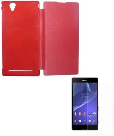 YGS Flip Cover For Sony Xperia T2 Ultra-Red Screen Guard Combo Set