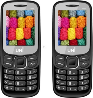 UNI 1.8 inch Dual Sim Multimedia Set of two Mobile (N21) WITH bluetooth-black (Black)