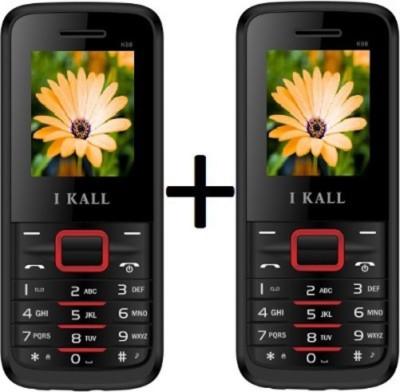 I KALL K-88 Set of 2 Dual SIM Mobiles (Black & Red)