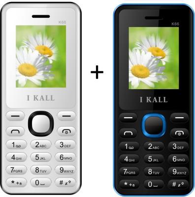 I KALL 1.8 inch Dual Sim Multimedia set of two Mobile(K-66WHITE+K66BLUE) with bluetoot (White, Blue)