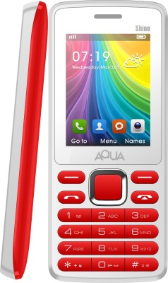 Aqua Shine - Dual SIM Basic Mobile Phone (White, Red)
