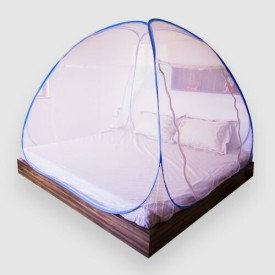 Prc net Double Bed Blue Border Mosquito Net
