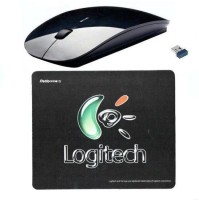 AVB Logitech Mousepad + Ranz SLim Wireless Optical Mouse (Bluetooth, Black)