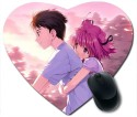 Awwsme Boy And Girl Sit To Cycle Heart Mousepad (Multicolour)