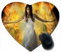 Awwsme A Girl And Fire Heart Mousepad (Multicolour)