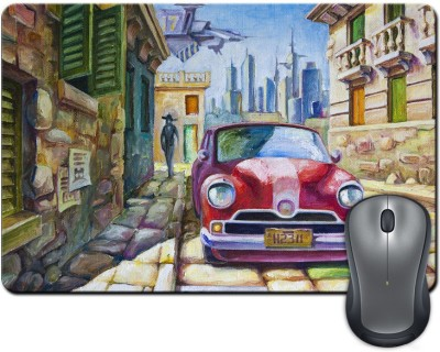 ShopMantra Vintage Car On Street Crayon Painting Mousepad