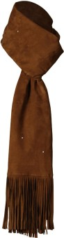 Goguava The Luxury Leather Stole With Fringe Detailing (Brown) Solid Women's Muffler