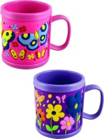 Radius Pink & Purple Embossed Cartoon Mugs For Kids (Pack Of Two) Plastic Mug (300 Ml, Pack Of 2)