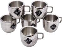 KCL Apple Silver Stainless Steel Mug (100 Ml, Pack Of 6)
