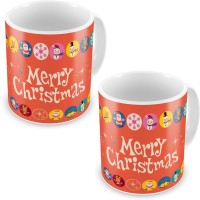 Home India Fancy Printed Design Orange Coffe S Pair 616 Ceramic Mug (300 Ml, Pack Of 2)