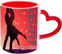 Jiyacreation1 Love Happy Anniversary Red Heart Handle Ceramic Mug (3.5 Ml)