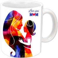 Jiyacreation1 Love You Mom Beautiful Design White Ceramic Mug (3.5 Ml)