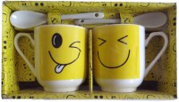 Satyam Kraft Couple S - SMILEY Mugs With Ceramic Spoon And Box Packing Ceramic Mug (340 Ml, Pack Of 2)