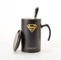 Dragon Superman Super Hero Coffee/ Tea / Milk Cup Spoon And Lid Set Ceramic Mug (340 Ml)