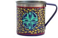 ECraftIndia Handpainted Decorative Stainless Steel Mug (180 Ml) - MUGEGCARHJJPT5FF