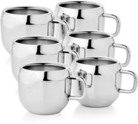 Raj Double Wall Steel Appel Tea Cup Set Of 6 Stainless Steel Mug (100 Ml, Pack Of 6)