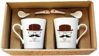 Satyam Kraft Gentlemens Club S - Hat, Glasses And Moustache Mug With Ceramic Spoon And Box Packing - Version 2 Ceramic Mug (340 Ml, Pack Of 2)