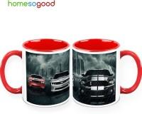 HomeSoGood Speedy Cars On (QTY 2) Ceramic Mug (325 Ml, Pack Of 2)