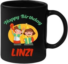 Huppme Happy Birthday Linzi Black  (350 ml) Ceramic Mug