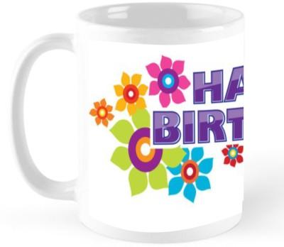 Godigito Flower Print Birthday Gift Coffee  Ceramic Mug