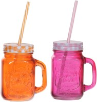 ZIDO Colorful Designer Mason Jar Glass Mug (450 Ml, Pack Of 2) - MUGEGH3SUPMFG6ZH
