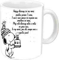 Jiya Creation1 Happy B'day With Nice Lines White Ceramic Mug (350 Ml)