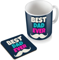 SKY TRENDS GIFT Best Dad Ever With Mustaches Black BackGround Gifts For Father's Day Coaster Coffee  Set Ceramic Mug (320 Ml, Pack Of 2)