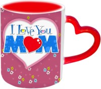 Jiyacreation1 I Love You MOM In Heart Shape Red Heart Handle Ceramic Mug (3.5 Ml)