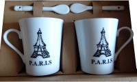 Satyam Kraft Couple S - PARIS City Mugs With Ceramic Spoon And Box Packing - Version 2 Ceramic Mug (340 Ml, Pack Of 2)