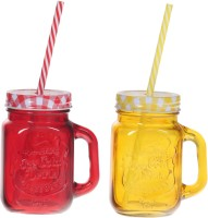 ZIDO Colorful Designer Mason Jar Glass Mug (450 Ml, Pack Of 2) - MUGEGHFY7ZWBF8YP