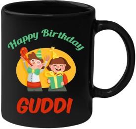 Huppme Happy Birthday Guddi Black  (350 ml) Ceramic Mug