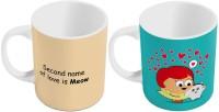 Little India Designer Printed Ceramic Coffee S Pair 430 Ceramic Mug (300 Ml, Pack Of 2)
