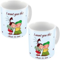Little India Blue Designer Romantic Printed Coffee S Pair 702 Ceramic Mug (300 Ml, Pack Of 2)