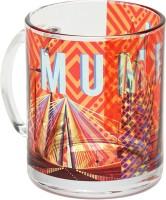 The Elephant Company Mumbai Cityscape Orange Glass Coffee  Ceramic Mug (180 Ml)