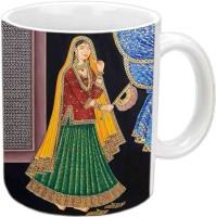Jiyacreation1 Beautiful Design For Rajasthani Culture Multicolor White Ceramic Mug (3.5 Ml)